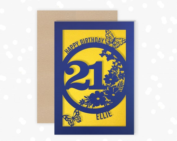 Personalised 21 Papercut Birthday Card Butterfly design with the name and age of your choice Any Age, for 18, 21, 30, 40, 50, 60, 70, 75, 80