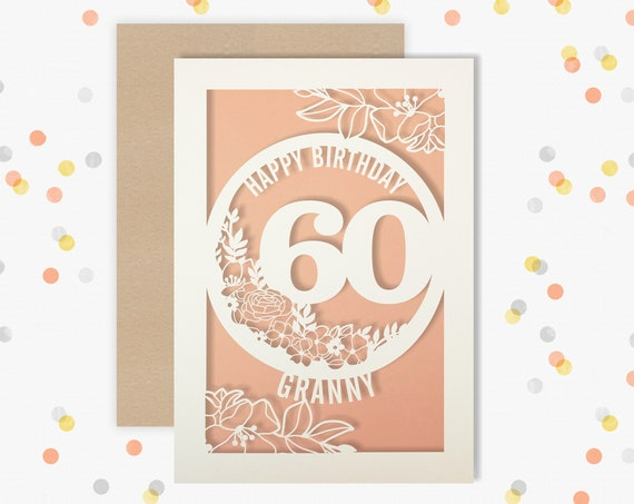 Personalised 60th Birthday Card Papercut Floral design Card for her 60