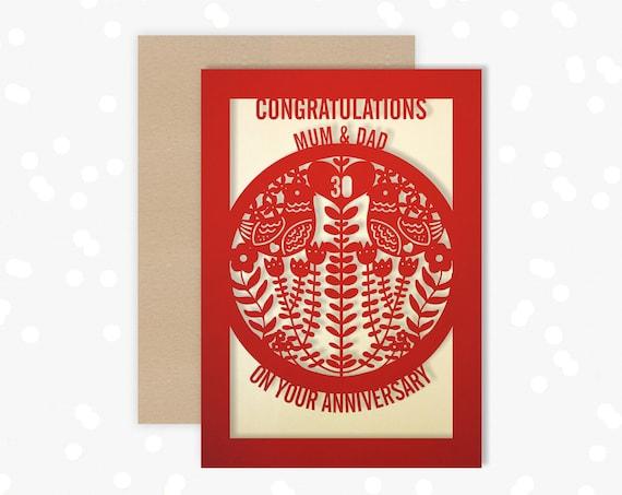 Personalised Anniversary Card Paper Cut Greeting Card, 30th Wedding Anniversary Laser Cut Ruby Wedding