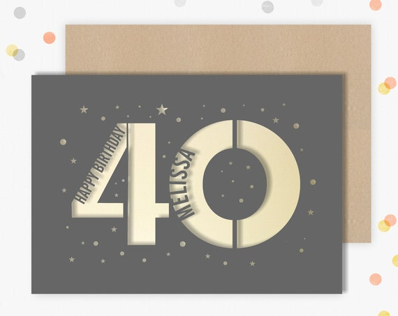 Personalised 40th Birthday Card Papercut contemporary star design