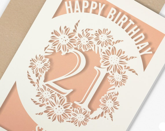 Personalised 21st Papercut Birthday Card with the name of your choice. Or add any Age, 18, 21, 30, 40, 50, 60, 70, 75, 80