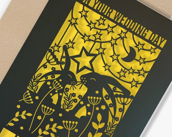 Personalised Wedding Card Paper Cut Wedding Greeting Card, Congratulations Wedding Day for Newlyweds Laser Cut Rabbits