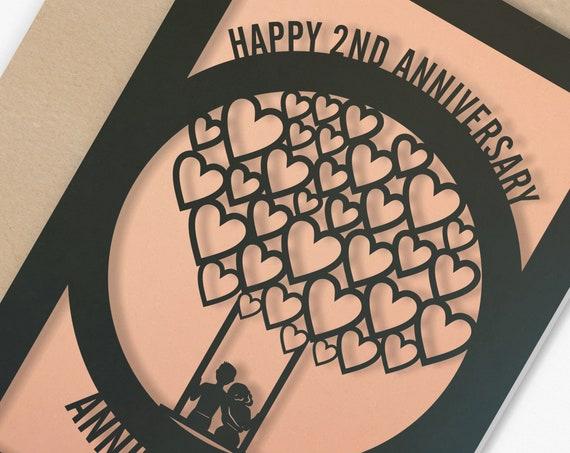 Personalised 2 Year Wedding Anniversary Card  2nd Wedding anniversary paper cut card Couple Card for Anniversary