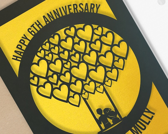 6 Year Personalised Wedding Anniversary Card  6th Wedding anniversary paper cut card Iron Anniversary