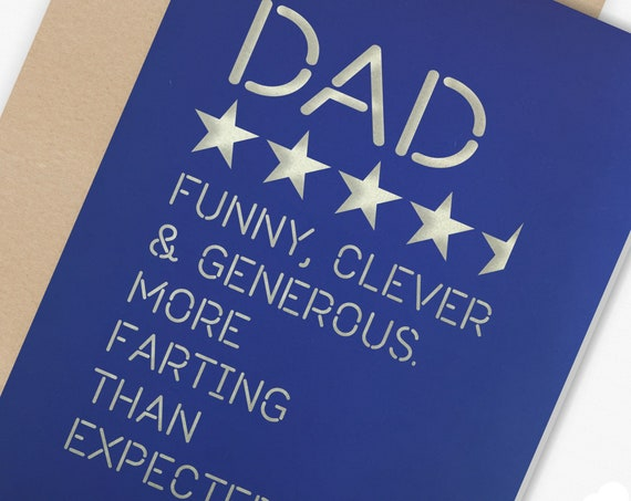 Paper cut Fathers Day or Birthday Card, Star Rating Card, 4 and a half  Stars Dad Cheeky Farting Card, pick your own colour combination