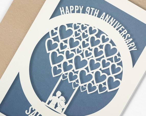 Personalised 9 Year Wedding Anniversary Card.  9th Wedding anniversary paper cut card Pottery Anniversary