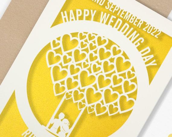 Personalised Wedding Card Paper Cut Wedding Greeting Card, Congratulations Wedding Day for Newlyweds Laser Cut Heart Balloon