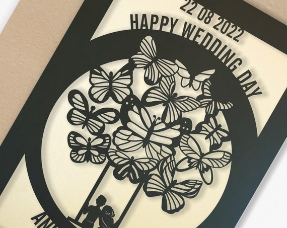 Personalised Wedding Card Paper Cut Wedding Greeting Card, Congratulations Wedding Day for Newlyweds Laser Cut Butterfly Balloon