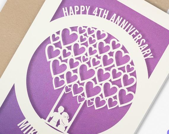 Personalised 4 Year Wedding Anniversary Card.  4th Wedding anniversary paper cut card Couple card