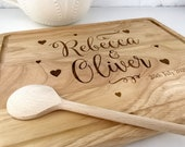 Personalised Chopping Board engraved with names, dates and littlehearts  Great for Weddings Engagment Anniversary and House warmings