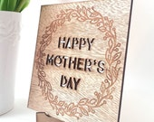Personalised Mother's Day card - made from birch wood - Happy Mother's Day