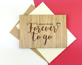 5 Year wedding anniversary - celebrate the wooden anniversary with a wooden card