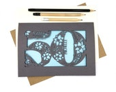 Personalised Papercut 50th Birthday Card Floral design with flowers, leaves and delicate swirls