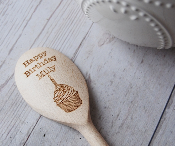 Personalised wooden Spoon ~ Happy Birthday ~ Cake baking gift ~ Goozeberry Hill