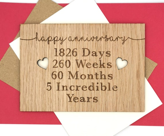 5th Wedding Anniversary - celebrate your wooden anniversary with a wooden card - 5 Incredible years