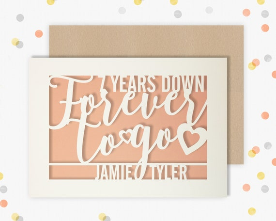 Personalised 7 Year Wedding Anniversary Card.  7th Wedding anniversary paper cut card Copper Anniversary 7 Years Down Forever to go