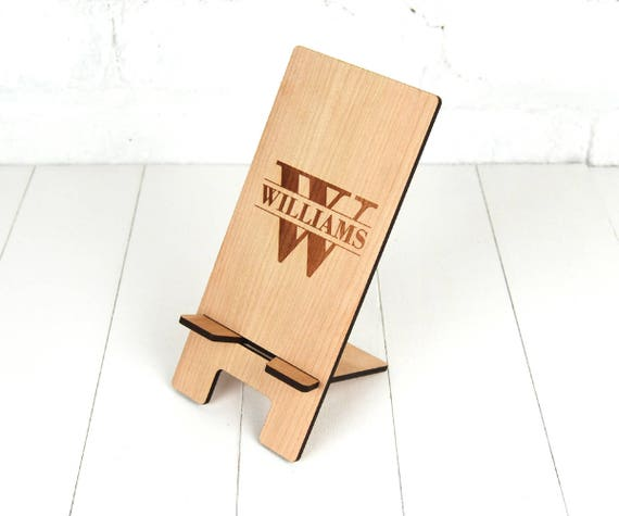 Personalised Docking Station - Electronic Stand - Wooden Mobile Phone Stand - Initial & Surname personalisation