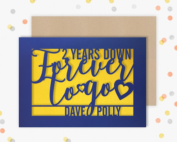 Personalised 2 Year Wedding Anniversary Card.  2nd Wedding anniversary paper cut card 2 Years Down Forver to go