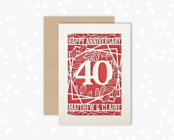 Anniversary Papercut Personalised card 40 Year wedding Celebrate a Rubyl 40th wedding anniversary with this beautiful Card for couples