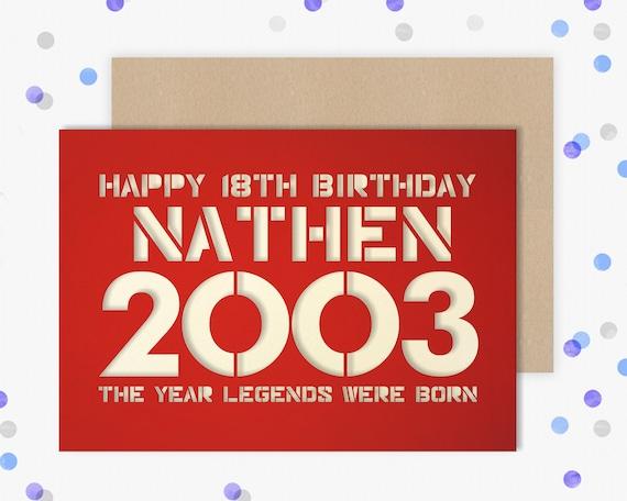 Personalised Birthday Card Papercut contemporary design 16, 18, 21, 30, 40, 50, 60, 65, 70, 75