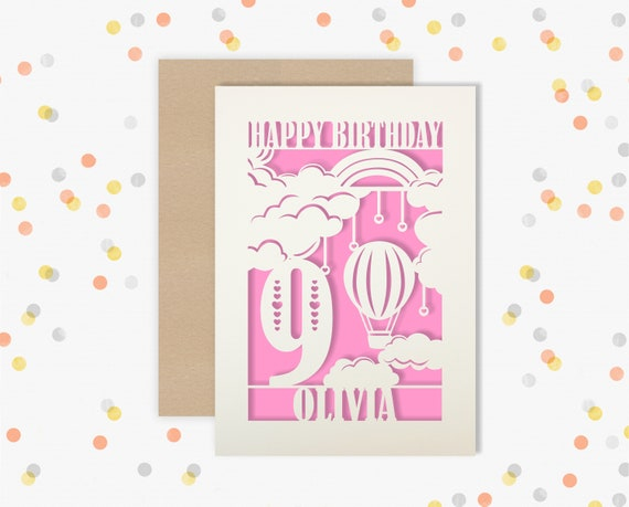 Personalised 9 th Birthday Papercut Birthday Card Hair balloon design with the name your choice. 9th Age Birthday card