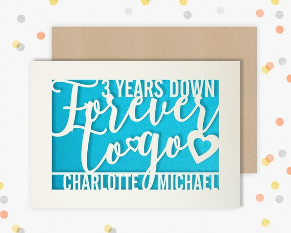 Personalised 3 Year Wedding Anniversary Card.  3rd Wedding anniversary paper cut card Leather Anniversary 3 Years Down Forever to go