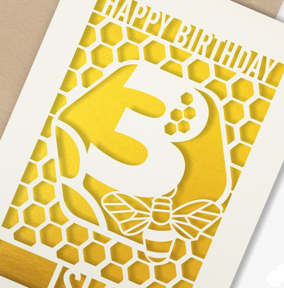Personalised 3rd Birthday Paper cut card, bumble bee & honeycomb design, 3 Birthday card