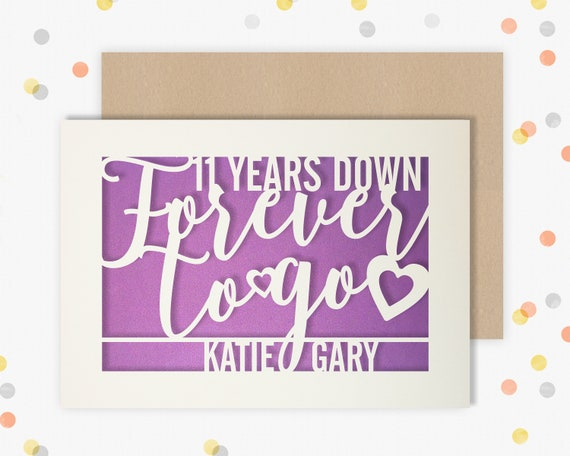 Personalised 11 Year Wedding Anniversary Card.  11th Wedding anniversary paper cut card Steel Anniversary 11 Years Down Forever to go