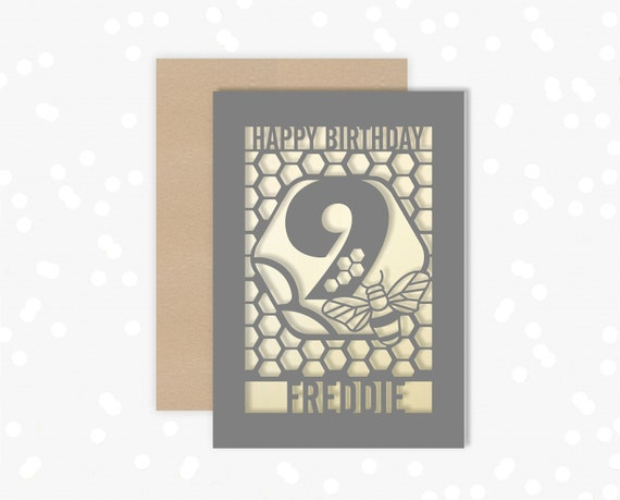 Personalised 9th Birthday Paper cut card, bumble bee & honeycomb design, 9 Birthday card