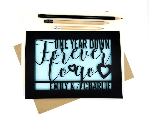 Personalised Papercut First Year wedding anniversary Card. Celebrate your 1st Paper wedding anniversary with the beautiful Card