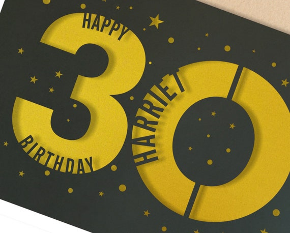 Any age Papercut Birthday Card Star design with the name your choice. Request any Age, for 18, 21, 30, 40, 50, 60, 70, 75, 80