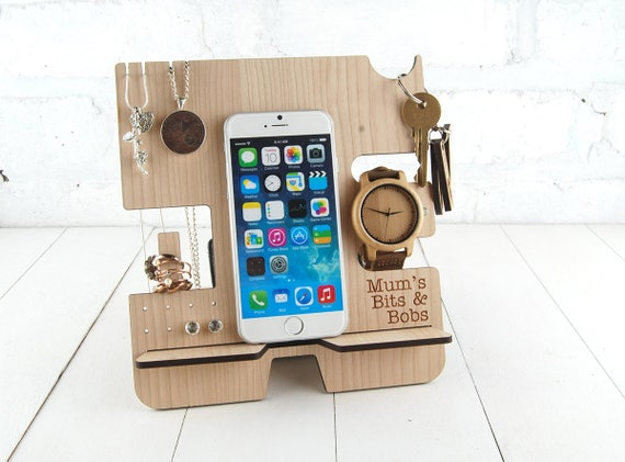 Personalised Docking Station, Jewellery stand Multi item storage , Electronic Stand - Wooden Mobile Phone Stand - FREE personalisation
