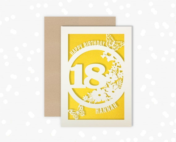 Personalised 18 th Papercut Birthday Card Butterfly design with the name and age of your choice Any Age, 16, 21, 30, 40, 50, 60, 70, 75, 80
