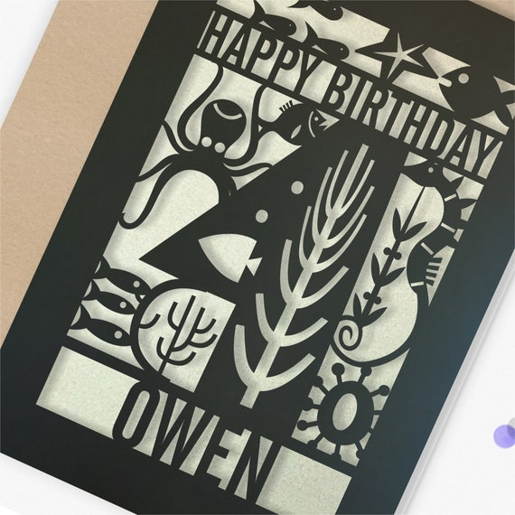 Personalised 4th Papercut Birthday Card Fish design with the name your choice. Grandson, nephew, son, Brother 4