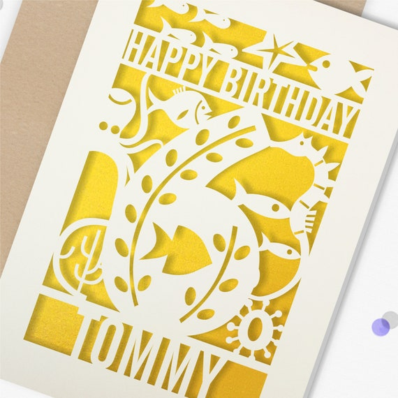 Personalised 6th Papercut Birthday Card Fish design with the name your choice. Grandson, nephew, son, Brother 6