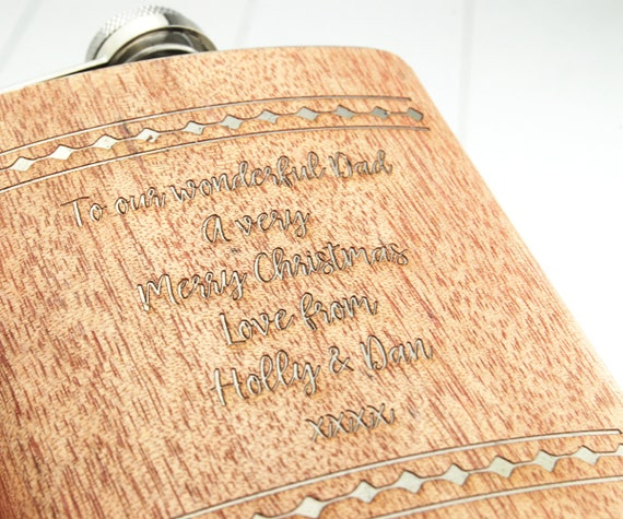 Personalised Hip Flask ~ Beautiful walnut wood veneer over a High Quality Stainless Steel Case ~ Engraved with the message of your choice
