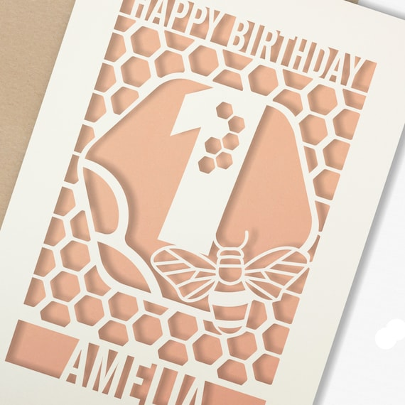 1st Birthday Paper cut card, bumble bee & honeycomb design, 1 Birthday card