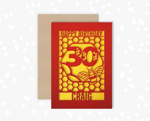 Personalised 30th Birthday Paper cut card, bumble bee & honeycomb design, 30 Birthday card