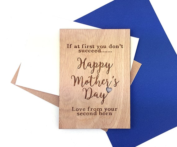 Fun Mother's Day card - Alternative to a paper card - Wooden Oak card with engraved wording with a little cut out heart.