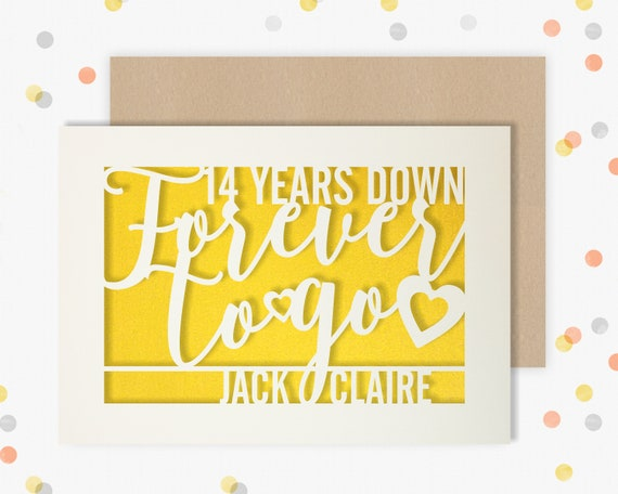 Personalised 14 Year Wedding Anniversary Card.  14th Wedding anniversary paper cut card Ivory Anniversary 14 Years Down Forever to go