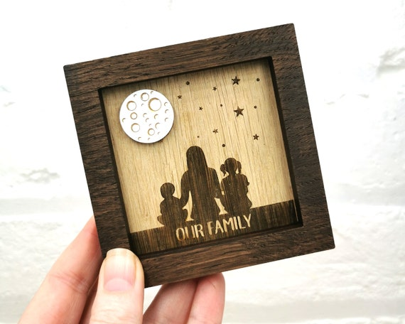 Personalised Family Portrait, wall art, Looking at the sky, Mothers Day Gift, Fathers Day Gift, Gift for Mum, Moon and stars