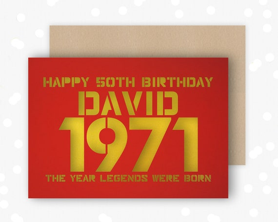 Personalised 50 Birthday Card Papercut contemporary design Born 1971 Legends are born
