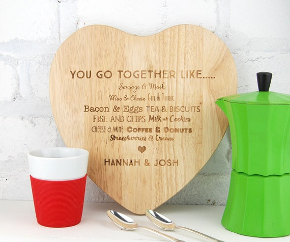 Personalised cutting chopping board Heart shaped Board Custom Cutting board  Weddings Engagment Anniversary House warming Couples gift