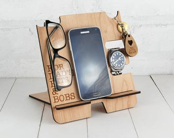 Personalised Docking Station - Multi item storage - Electronic Stand - Wooden Mobile Phone Stand - Message of your choice FREE