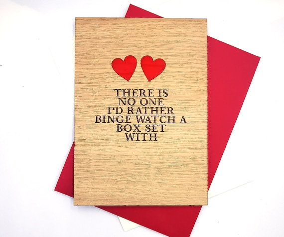 Valentines Day card personalised wooden card, for all those binge watchers out there! Free personalised message on the reverse