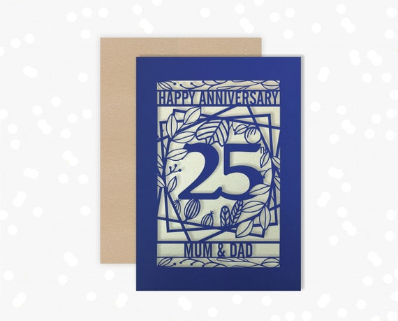 Personalised Papercut card 25 Year wedding anniversary Celebrate a Silver 25th wedding anniversary with this beautiful Card for couples