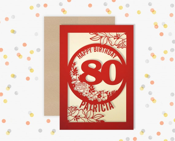 Personalised 80th Birthday Card Papercut Floral design Card for her 80