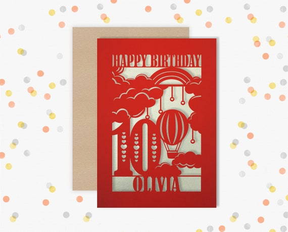 Personalised 10 th Birthday Papercut Birthday Card Hair balloon design with the name your choice. 10th Age Birthday card
