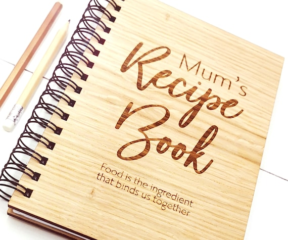 Mother's Day Gift Personalised Recipe Book, a beautiful keepsake of Family Recipes A5 Notebook Oak Cover. Custom cover with blank pages