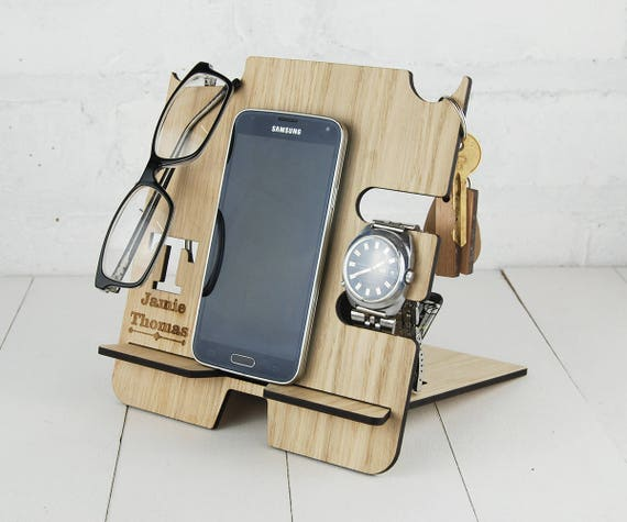 Personalised Oak Docking Station with free custom wording. Great for Multi item storage,  wooden Mobile Phone Stand  Fathers Day Gift